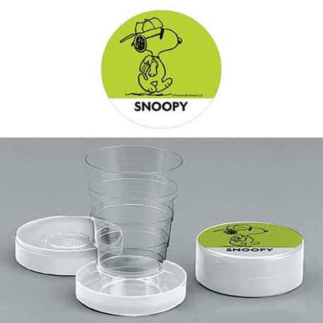 Bicchiere chiudibile a telescopio Snoopy Verde